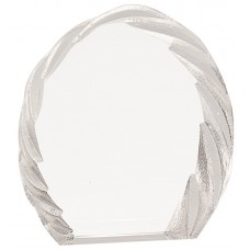6 inch Oval Crystal with Decorative Edge